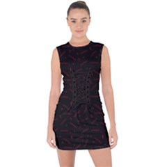 Runes Lace Up Front Bodycon Dress by greenthanet