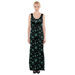 Turquoise Maxi Thigh Split Dress by greenthanet