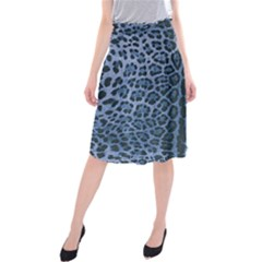 Blue Leopard Print Midi Beach Skirt by CasaDiModa