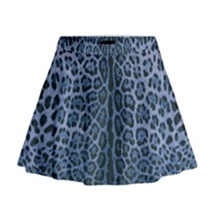 Blue Leopard Print Mini Flare Skirt by CasaDiModa