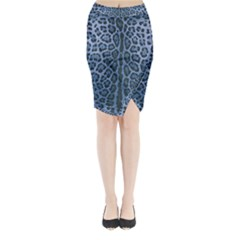 Blue Leopard Print Midi Wrap Pencil Skirt by CasaDiModa