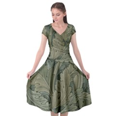 Vintage Background Green Leaves Cap Sleeve Wrap Front Dress by Nexatart