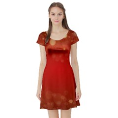 Background Abstract Christmas Short Sleeve Skater Dress