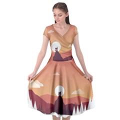 Design Art Hill Hut Landscape Cap Sleeve Wrap Front Dress by Nexatart