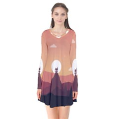 Design Art Hill Hut Landscape Flare Dress