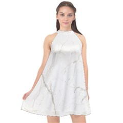 White Marble Tiles Rock Stone Statues Halter Neckline Chiffon Dress  by Nexatart