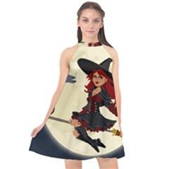 Witch Witchcraft Broomstick Broom Halter Neckline Chiffon Dress