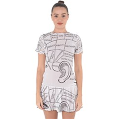 Brain Chart Diagram Face Fringe Drop Hem Mini Chiffon Dress by Nexatart