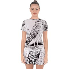 Animal Bird Forest Nature Owl Drop Hem Mini Chiffon Dress