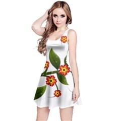 Flower Branch Nature Leaves Plant Reversible Sleeveless Dress