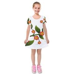 Flower Branch Nature Leaves Plant Kids  Short Sleeve Velvet Dress by Nexatart