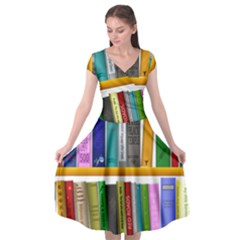 Shelf Books Library Reading Cap Sleeve Wrap Front Dress by Nexatart