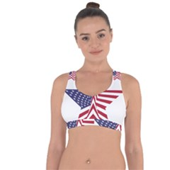 A Star With An American Flag Pattern Cross String Back Sports Bra by Nexatart