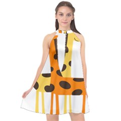 Giraffe Africa Safari Wildlife Halter Neckline Chiffon Dress  by Nexatart