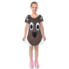 Dog Pup Animal Canine Brown Pet Kids  Short Sleeve Velvet Dress