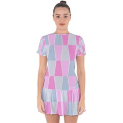 Geometric Pattern Design Pastels Drop Hem Mini Chiffon Dress