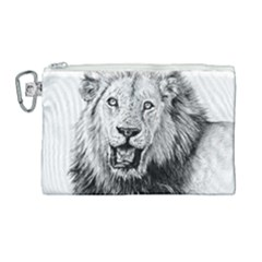 Lion Wildlife Art And Illustration Pencil Canvas Cosmetic Bag (large)