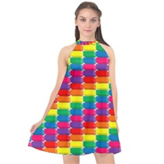 Rainbow 3d Cubes Red Orange Halter Neckline Chiffon Dress