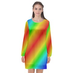Background Diagonal Refraction Long Sleeve Chiffon Shift Dress  by Nexatart