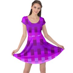 Geometric Cubes Pink Purple Blue Cap Sleeve Dress