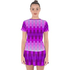 Geometric Cubes Pink Purple Blue Drop Hem Mini Chiffon Dress by Nexatart