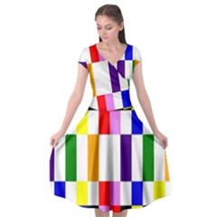 Rainbow Color Blocks Red Orange Cap Sleeve Wrap Front Dress by Nexatart
