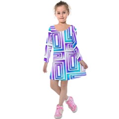 Geometric 3d Metallic Aqua Purple Kids  Long Sleeve Velvet Dress by Nexatart