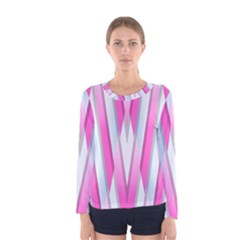 Geometric 3d Design Pattern Pink Women s Long Sleeve Tee by Nexatart
