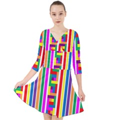 Rainbow Geometric Design Spectrum Quarter Sleeve Front Wrap Dress by Nexatart