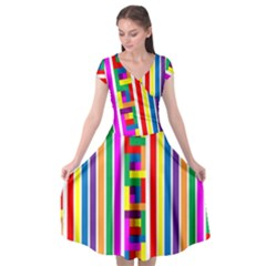 Rainbow Geometric Design Spectrum Cap Sleeve Wrap Front Dress by Nexatart