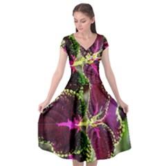 Plant Purple Green Leaves Garden Cap Sleeve Wrap Front Dress by Nexatart