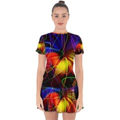 Fractal Pattern Abstract Chaos Drop Hem Mini Chiffon Dress
