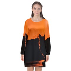 Sunset Cat Shadows Silhouettes Long Sleeve Chiffon Shift Dress  by Nexatart