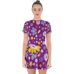 Floral Flowers Drop Hem Mini Chiffon Dress by Nexatart