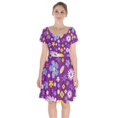 Floral Flowers Short Sleeve Bardot Dress by Nexatart