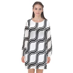 Diagonal Pattern Background Black And White Long Sleeve Chiffon Shift Dress  by Sapixe