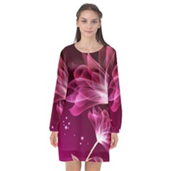 Drawing Flowers Lotus Long Sleeve Chiffon Shift Dress  by Sapixe