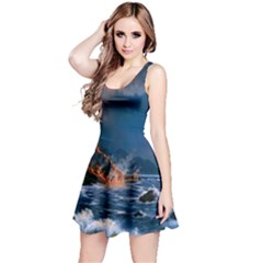 Eruption Of Volcano Sea Full Moon Fantasy Art Reversible Sleeveless Dress by Sapixe