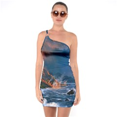 Eruption Of Volcano Sea Full Moon Fantasy Art One Soulder Bodycon Dress by Sapixe