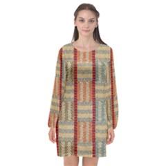 Fabric Pattern Long Sleeve Chiffon Shift Dress  by Sapixe