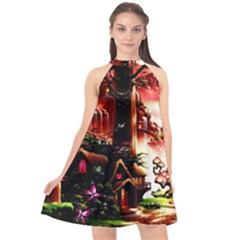 Fantasy Art Story Lodge Girl Rabbits Flowers Halter Neckline Chiffon Dress  by Sapixe