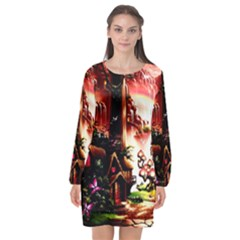 Fantasy Art Story Lodge Girl Rabbits Flowers Long Sleeve Chiffon Shift Dress  by Sapixe