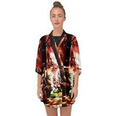 Fantasy Art Story Lodge Girl Rabbits Flowers Half Sleeve Chiffon Kimono