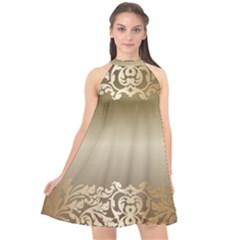Floral Decoration Halter Neckline Chiffon Dress  by Sapixe