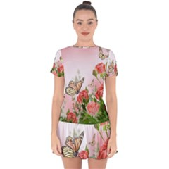 Flora Butterfly Roses Drop Hem Mini Chiffon Dress by Sapixe