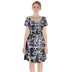 Floral High Contrast Pattern Short Sleeve Bardot Dress by Sapixe