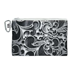 Floral High Contrast Pattern Canvas Cosmetic Bag (large) by Sapixe
