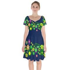 Flower Power Flowers Ornament Short Sleeve Bardot Dress by Sapixe