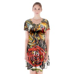 Flower Art Traditional Short Sleeve V Neck Flare Dress by Sapixe