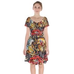 Flower Art Traditional Short Sleeve Bardot Dress by Sapixe